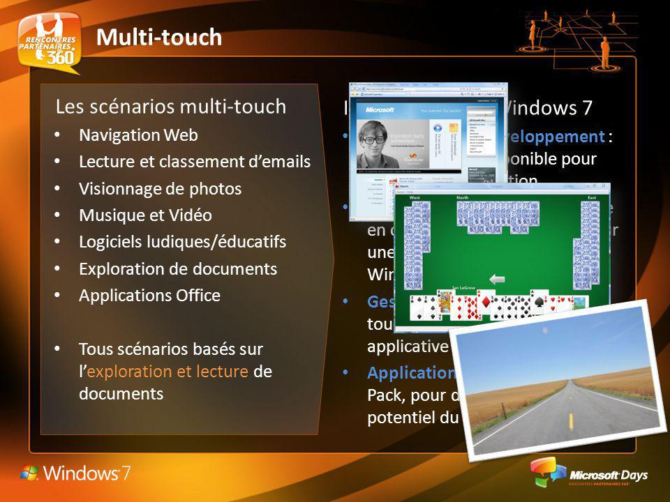 Multi-touch Les scénarios multi-touch Investissements Windows 7