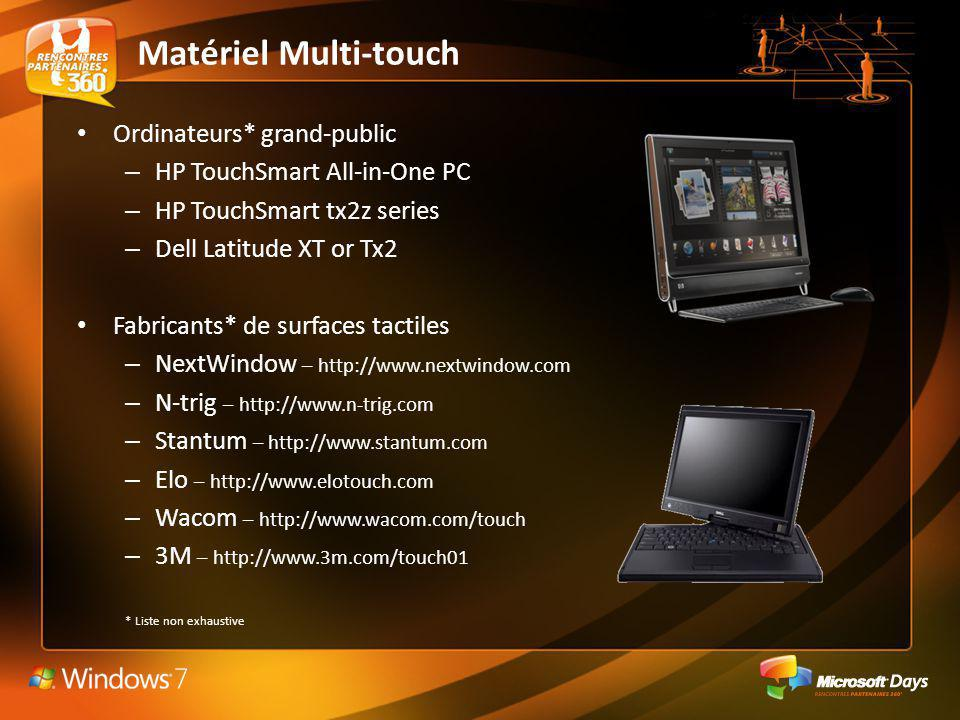 Matériel Multi-touch Ordinateurs* grand-public