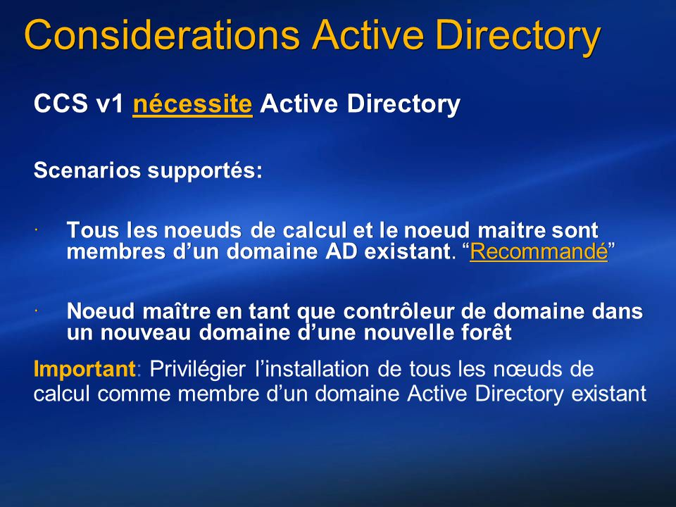 Considerations Active Directory