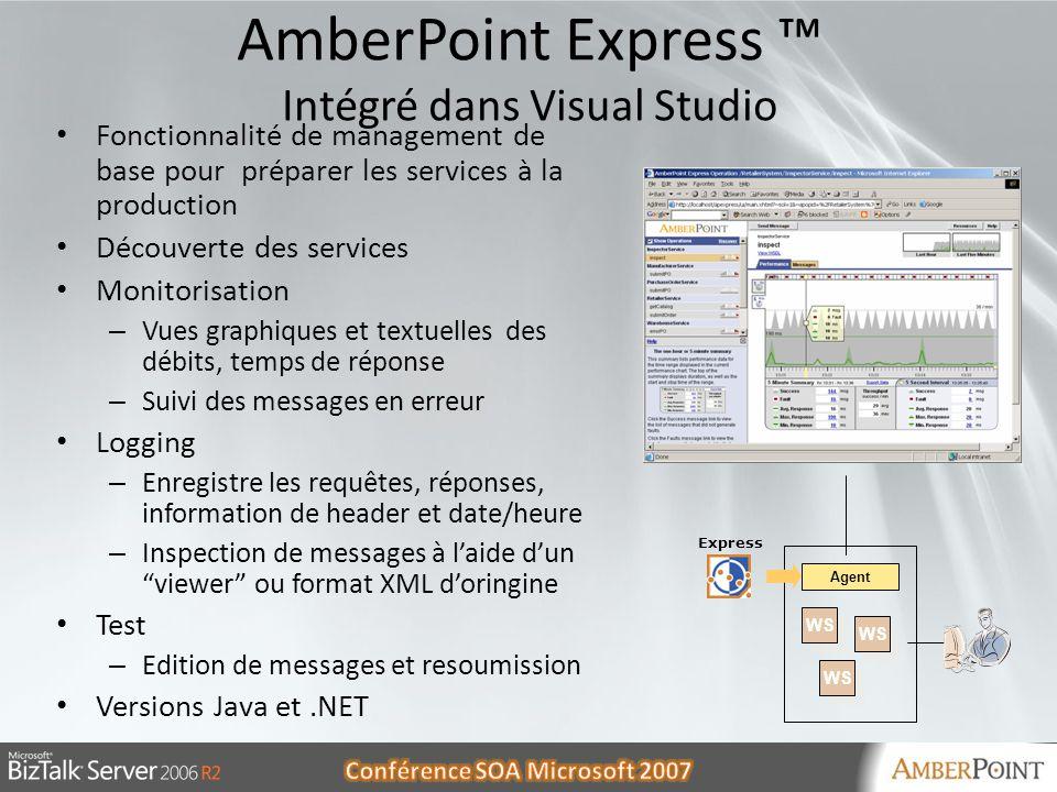 AmberPoint Express ™ Intégré dans Visual Studio