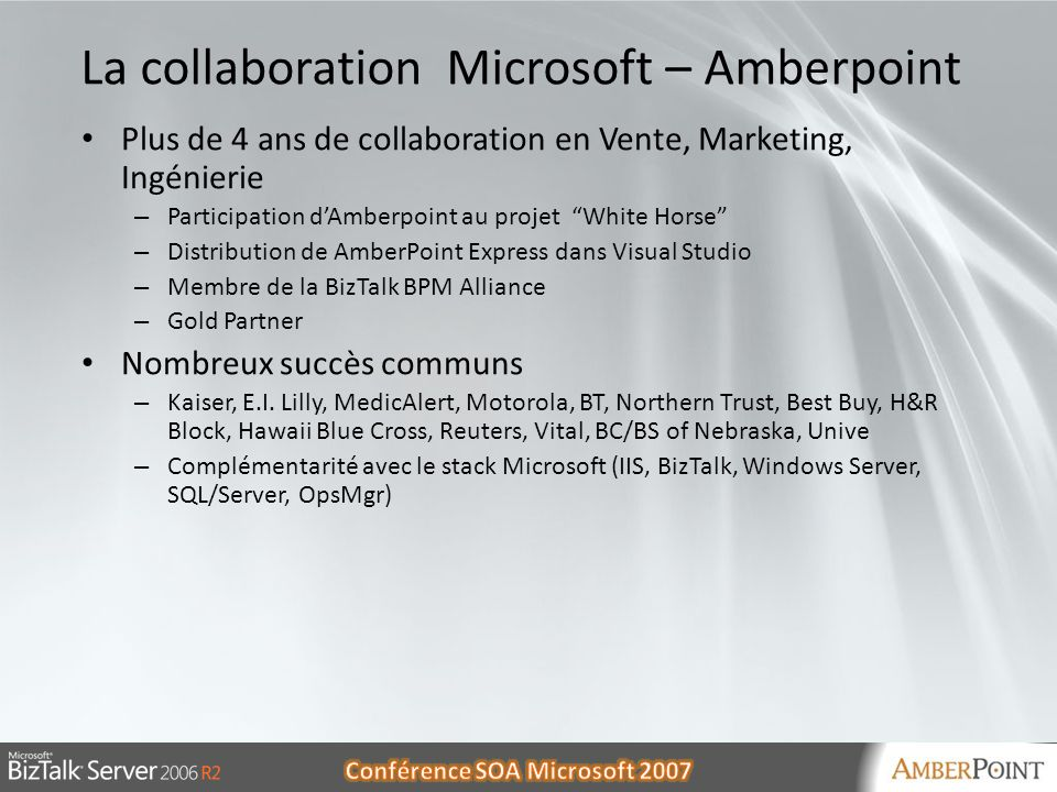 La collaboration Microsoft – Amberpoint