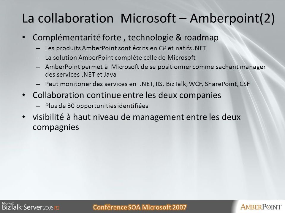 La collaboration Microsoft – Amberpoint(2)