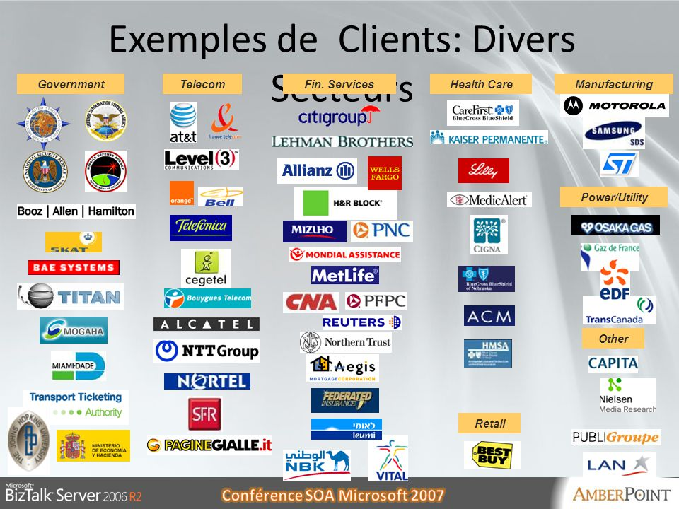 Exemples de Clients: Divers Secteurs