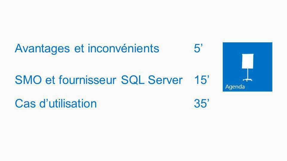 Avantages et inconvénients 5' SMO et fournisseur SQL Server 15' Cas d'utilisation 35'