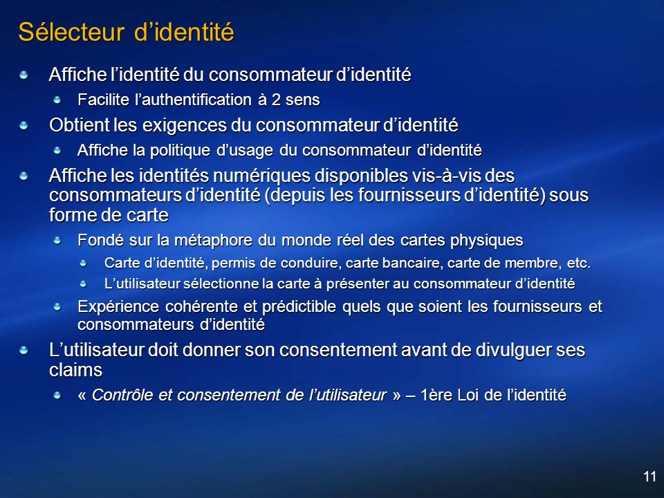 Sélecteur d'identité Affiche l'identité du consommateur d'identité
