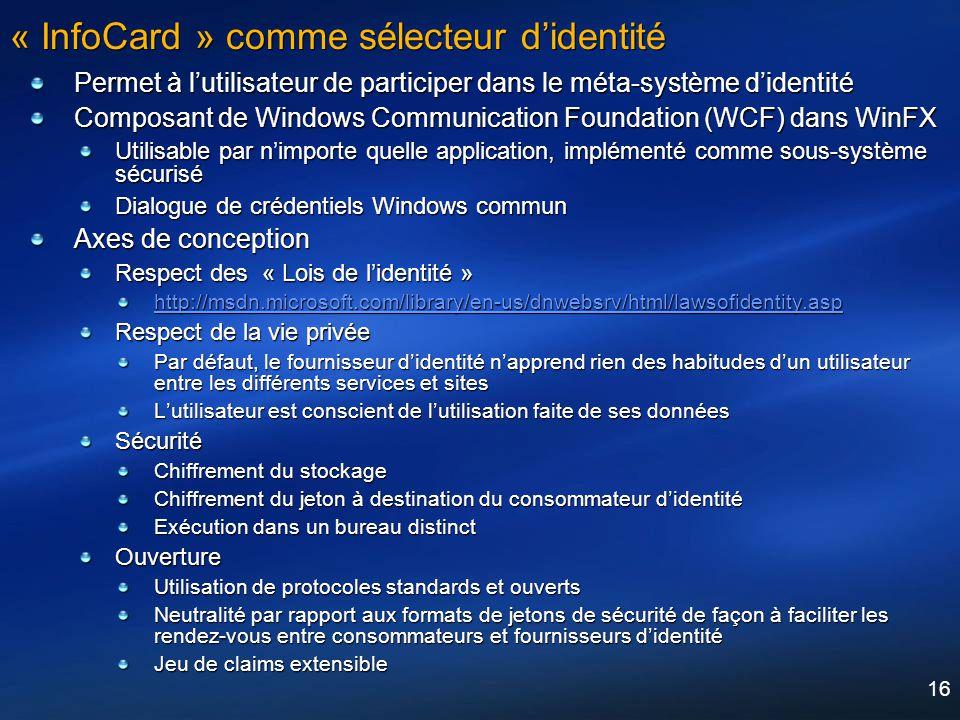 « InfoCard » comme sélecteur d'identité