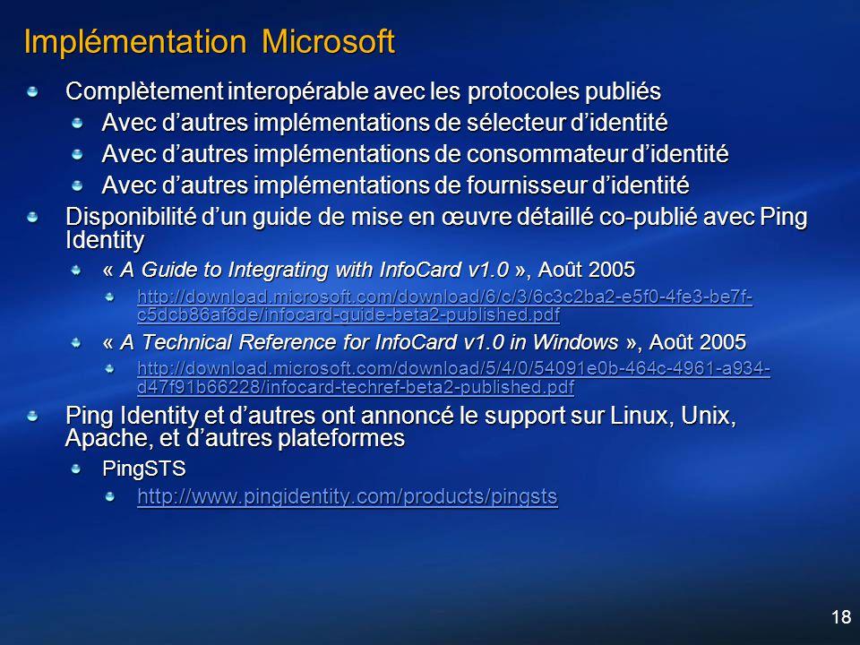 Implémentation Microsoft