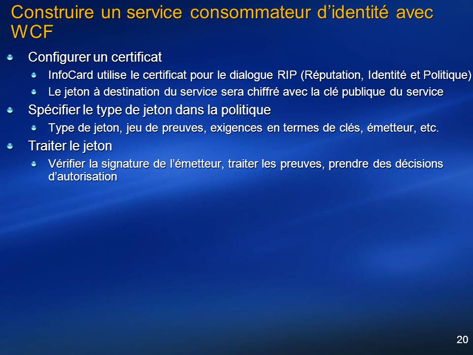 Construire un service consommateur d'identité avec WCF