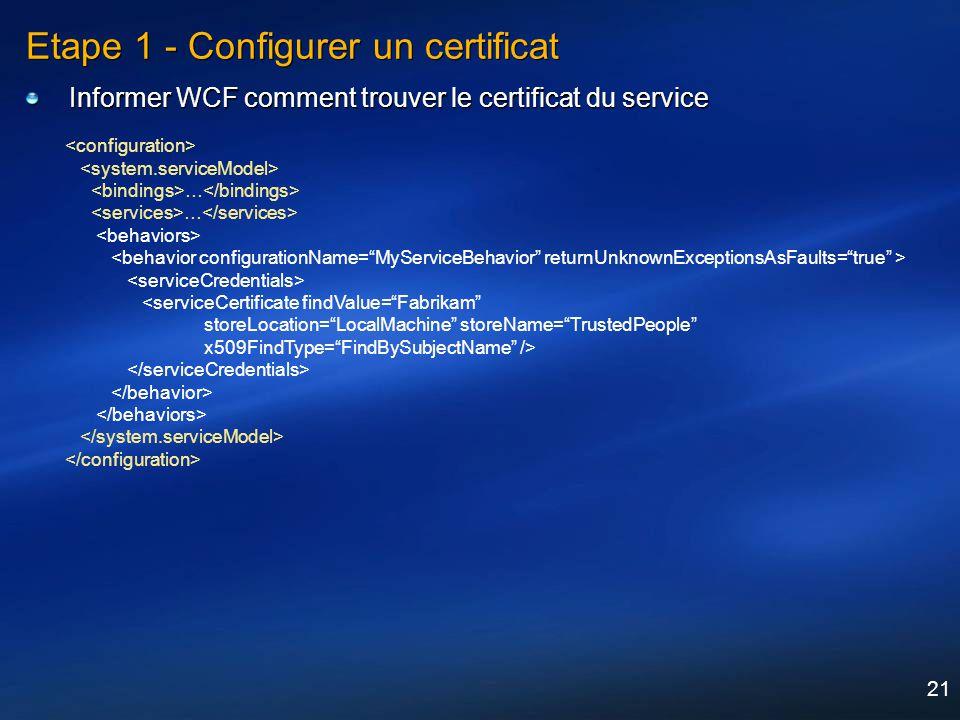 Etape 1 - Configurer un certificat