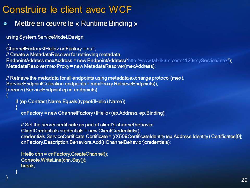 Construire le client avec WCF