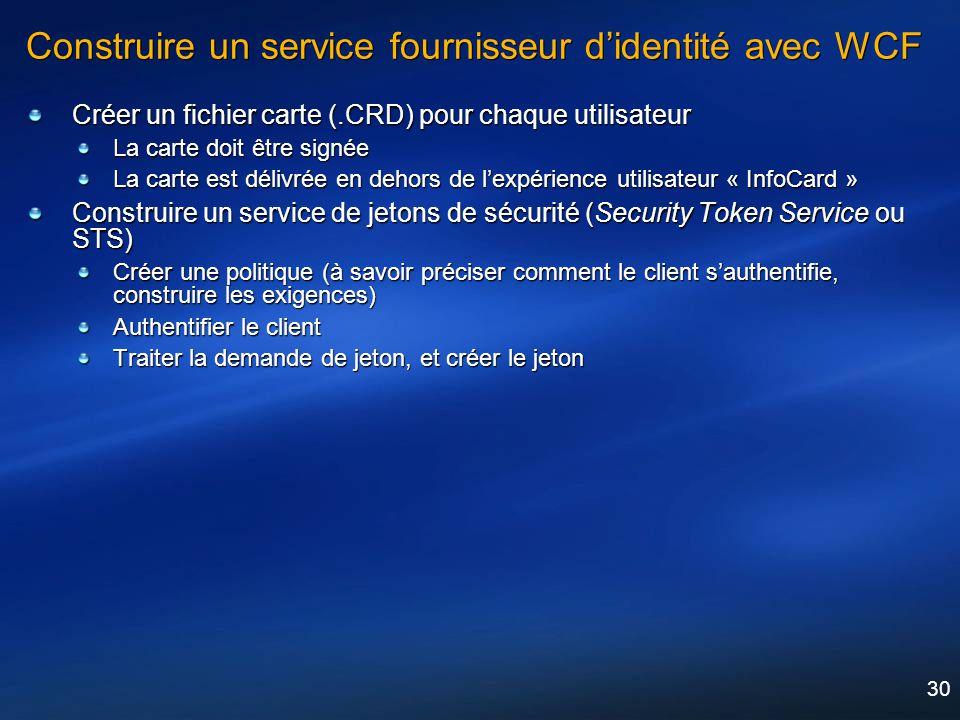 Construire un service fournisseur d'identité avec WCF