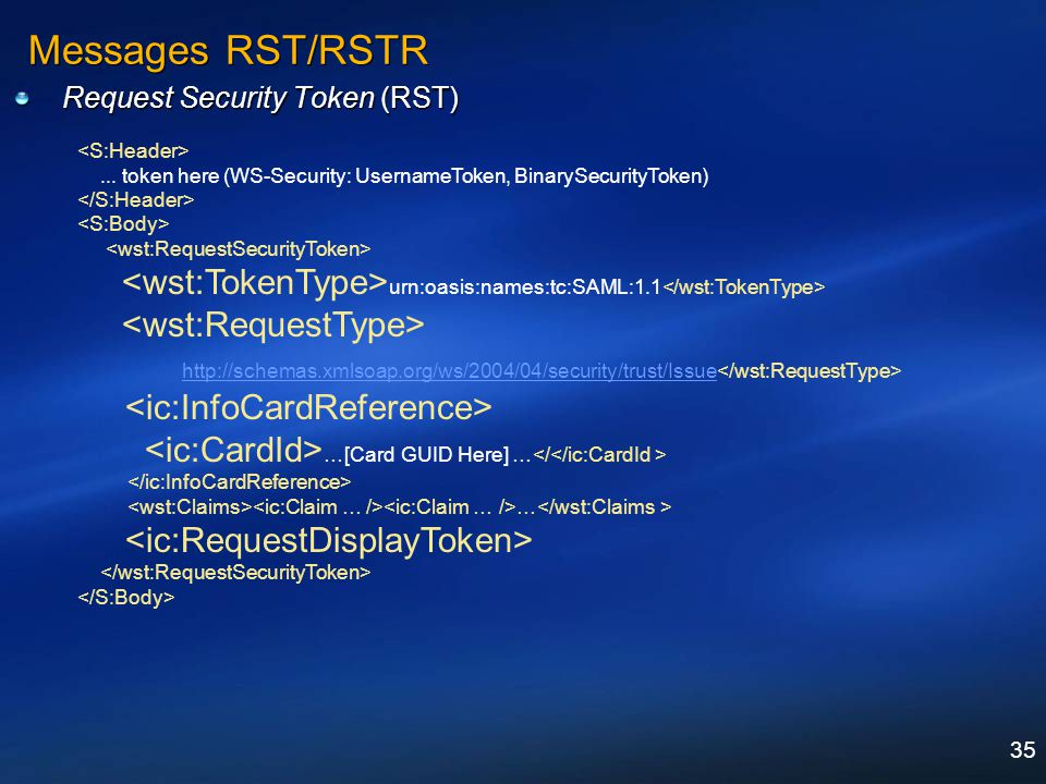 Messages RST/RSTR Request Security Token (RST) <S:Header> ... token here (WS-Security: UsernameToken, BinarySecurityToken)