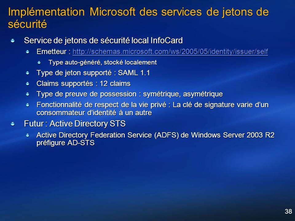 Implémentation Microsoft des services de jetons de sécurité