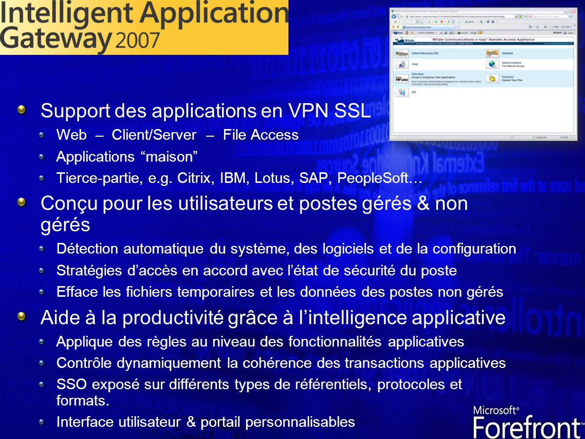 Support des applications en VPN SSL
