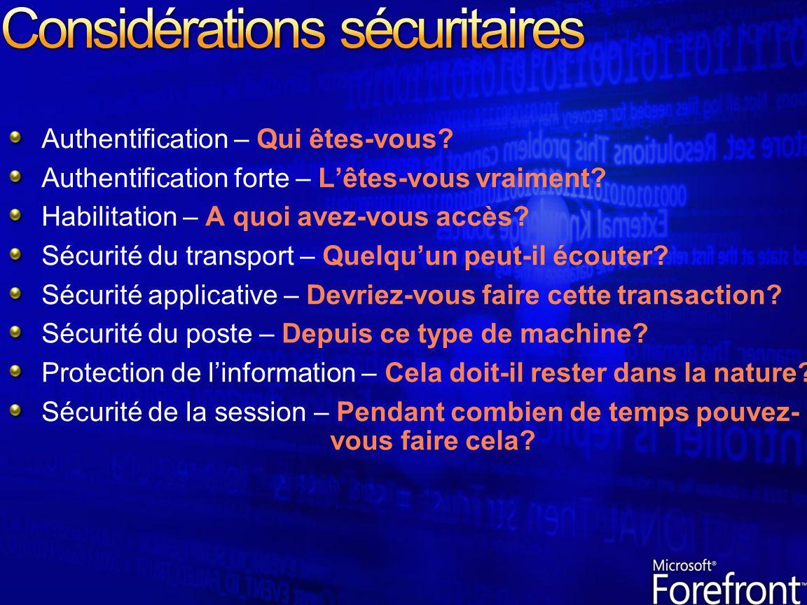 Considérations sécuritaires