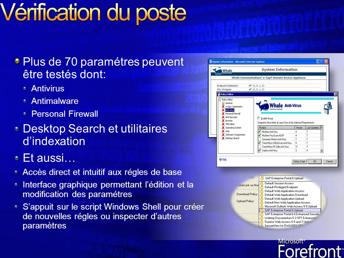 Vérification du poste Plus de 70 paramétres peuvent être testés dont: