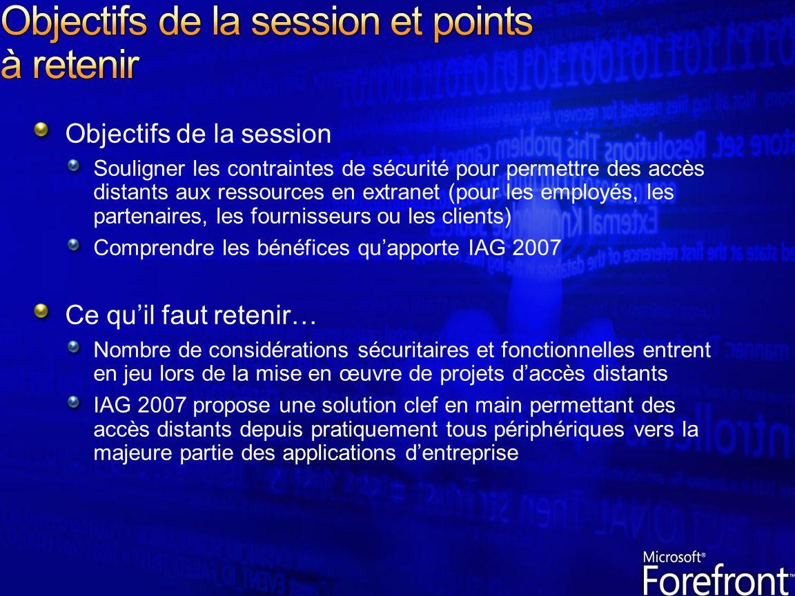 Objectifs de la session et points à retenir