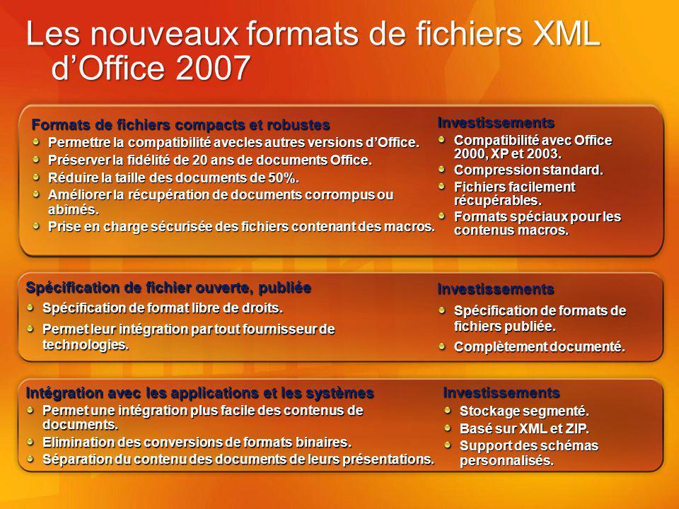 Les nouveaux formats de fichiers XML d'Office 2007