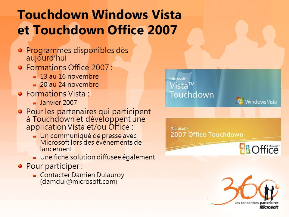 Touchdown Windows Vista et Touchdown Office 2007