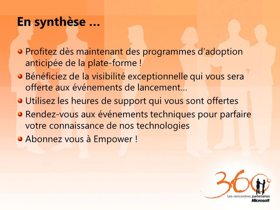 En synthèse … Profitez dès maintenant des programmes d'adoption anticipée de la plate-forme !