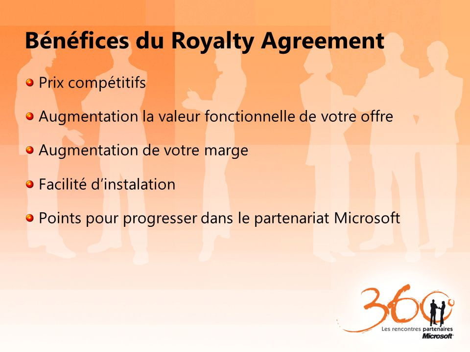 Bénéfices du Royalty Agreement
