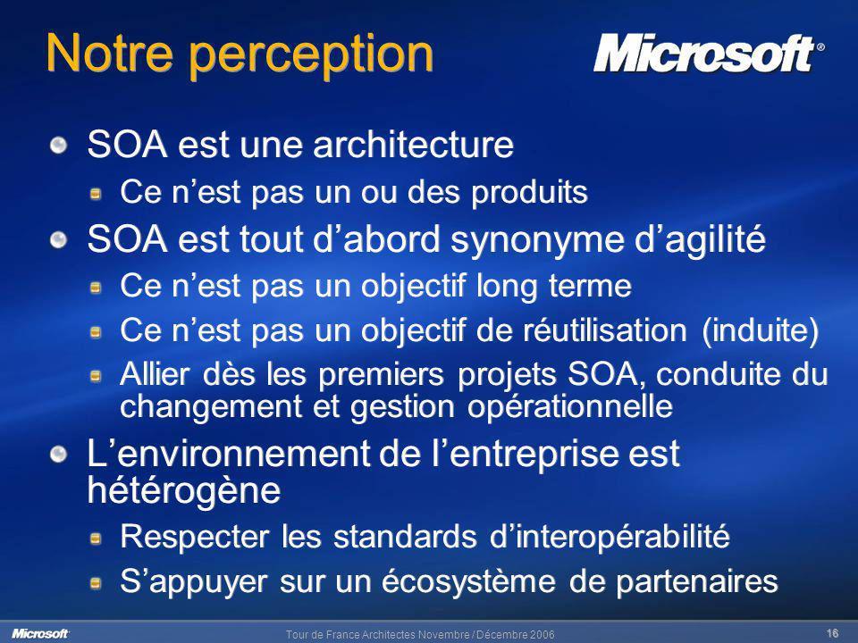 Notre perception SOA est une architecture