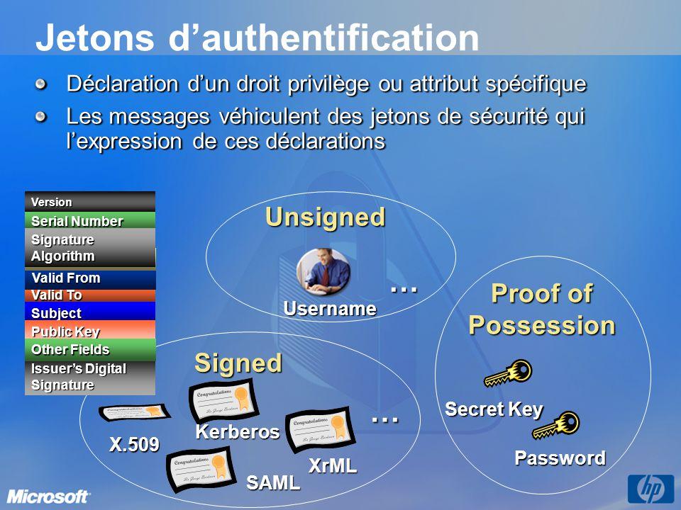 Jetons d'authentification