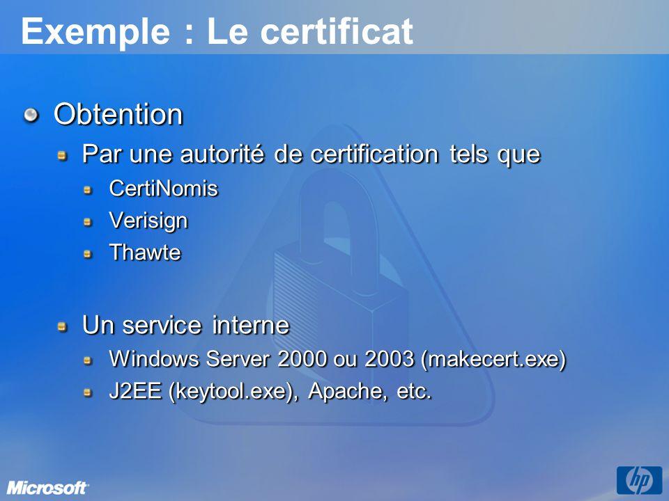 Exemple : Le certificat