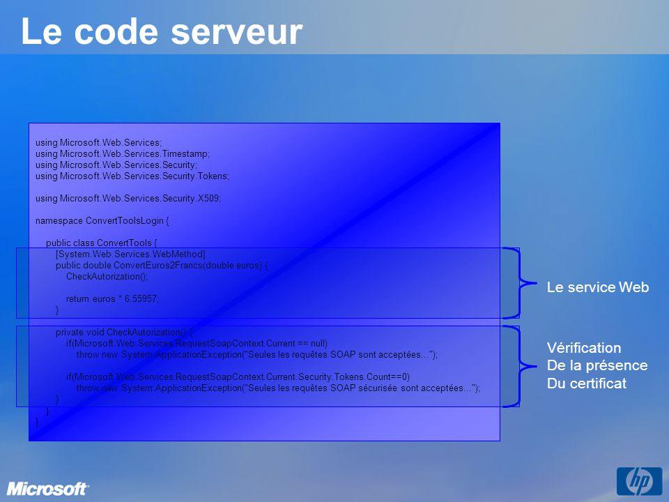 Le code serveur Le service Web Vérification De la présence