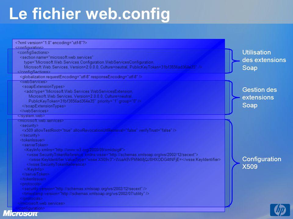Le fichier web.config Utilisation des extensions Soap Gestion des