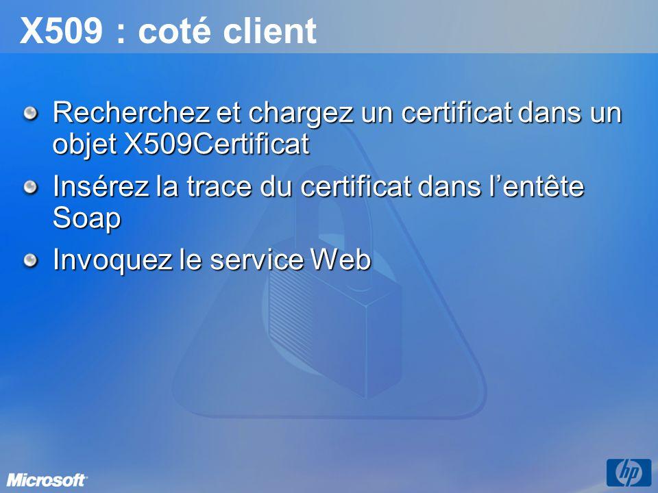 X509 : coté client Recherchez et chargez un certificat dans un objet X509Certificat. Insérez la trace du certificat dans l'entête Soap.