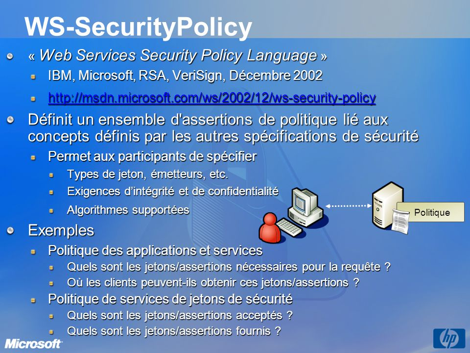 3/31/2017 9:56 PM WS-SecurityPolicy. « Web Services Security Policy Language » IBM, Microsoft, RSA, VeriSign, Décembre 2002.