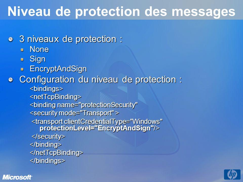 Niveau de protection des messages