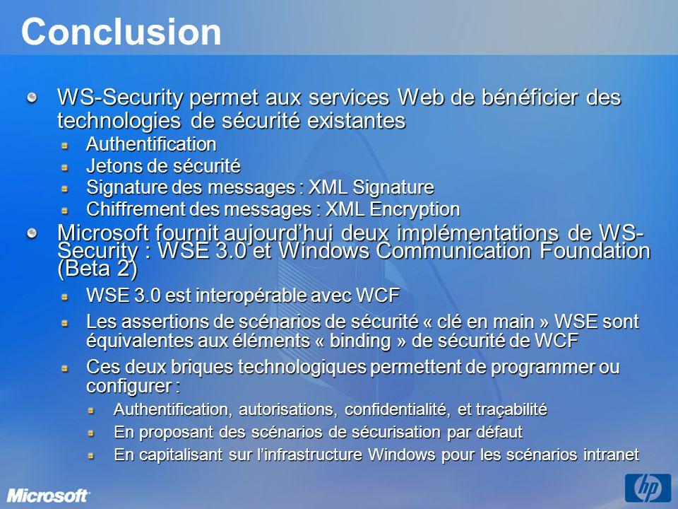 3/31/2017 9:56 PM Conclusion. WS-Security permet aux services Web de bénéficier des technologies de sécurité existantes.