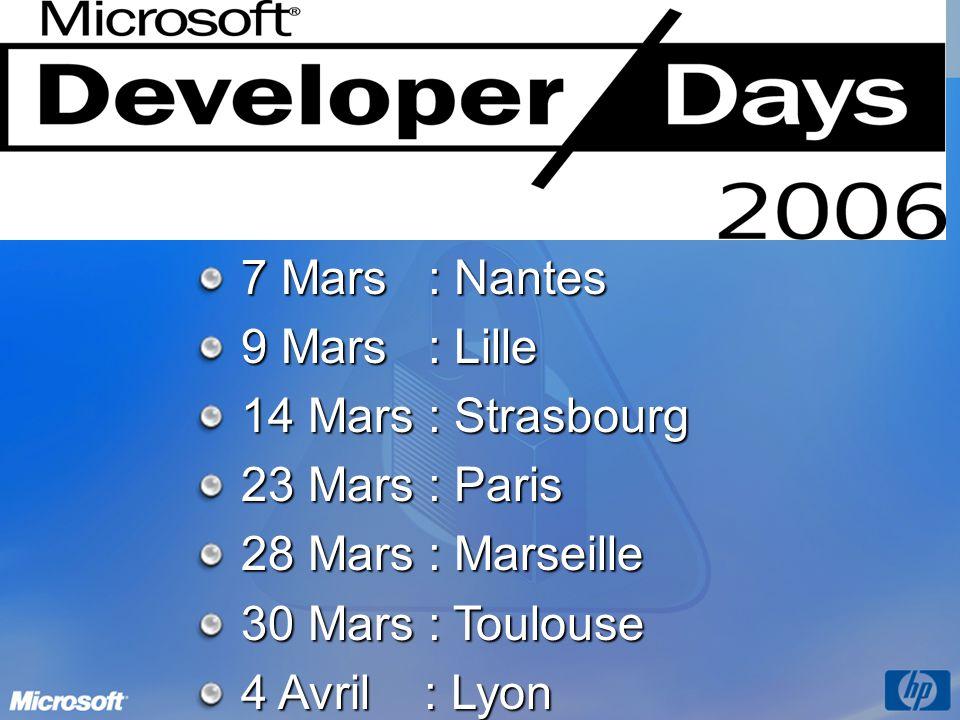 7 Mars : Nantes 9 Mars : Lille. 14 Mars : Strasbourg. 23 Mars : Paris. 28 Mars : Marseille. 30 Mars : Toulouse.