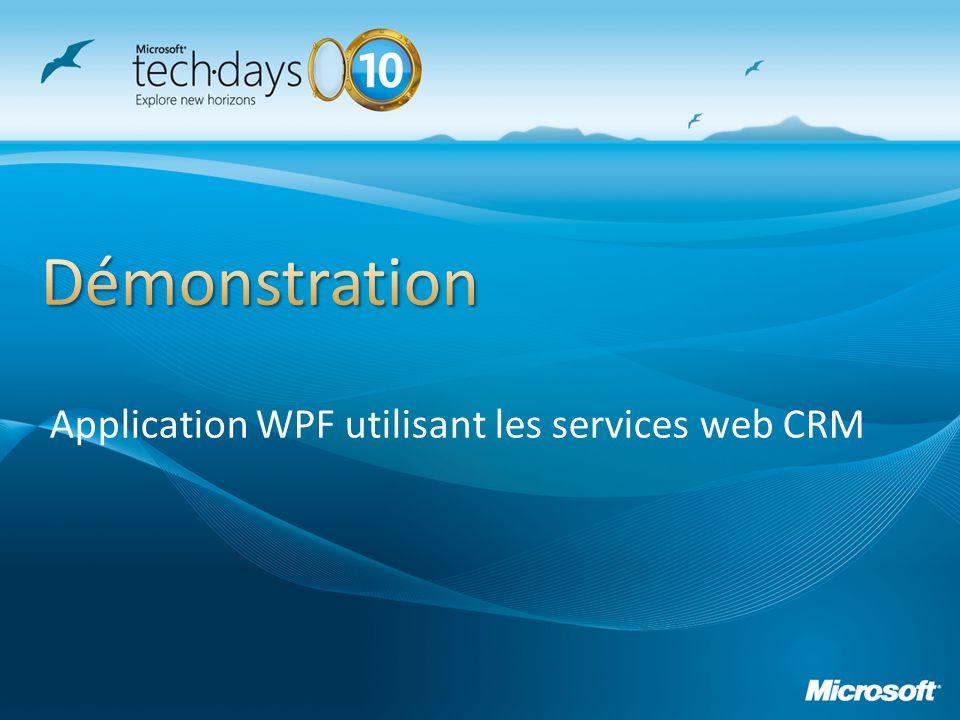Presentation_title Application WPF utilisant les services web CRM