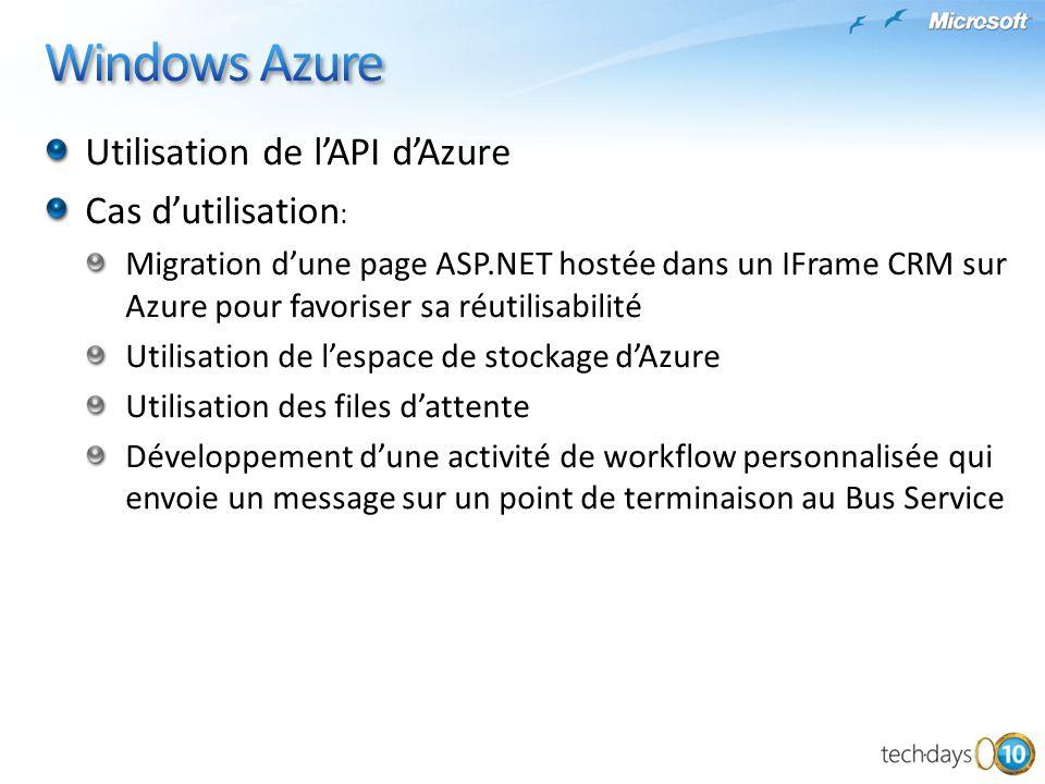 Windows Azure Utilisation de l'API d'Azure Cas d'utilisation: