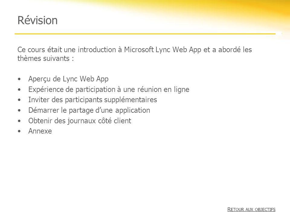 Révision Ce cours était une introduction à Microsoft Lync Web App et a abordé les thèmes suivants :