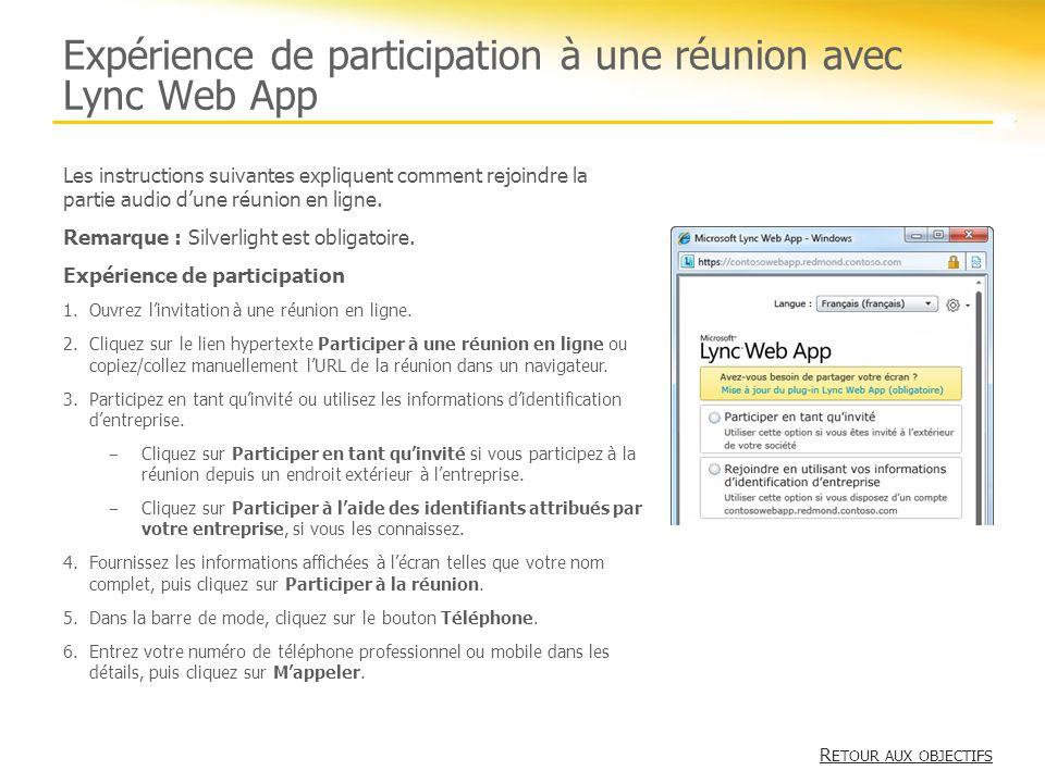 Expérience de participation à une réunion avec Lync Web App