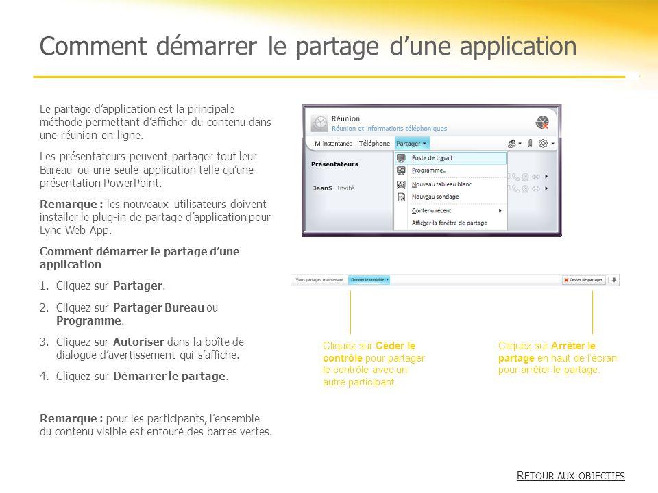 Comment démarrer le partage d'une application