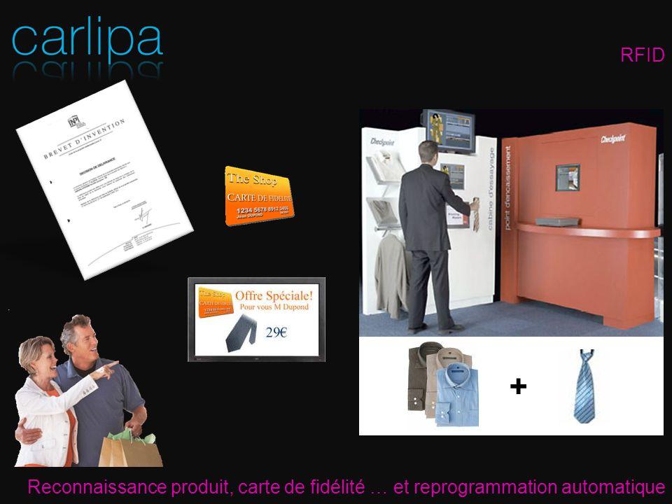 RFID + Reconnaissance produit, carte de fidélité … et reprogrammation automatique.
