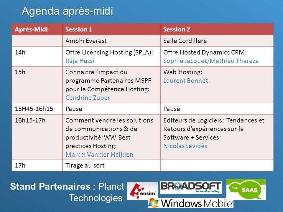 Agenda après-midi Stand Partenaires : Planet Technologies Après-Midi