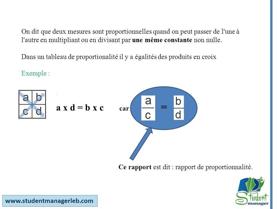 On dit que deux mesures sont proportionnelles quand on peut passer de l une à l autre en multipliant ou en divisant par une même constante non nulle.