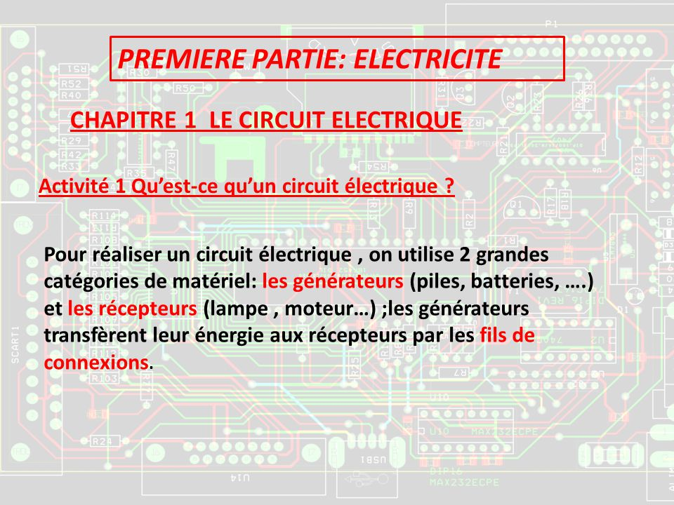 PREMIERE PARTIE: ELECTRICITE