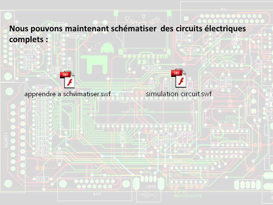 Nous pouvons maintenant schématiser des circuits électriques complets :