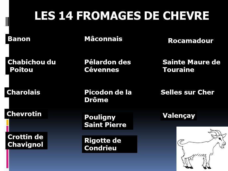 LES 14 FROMAGES DE CHEVRE Banon Mâconnais Rocamadour Chabichou du