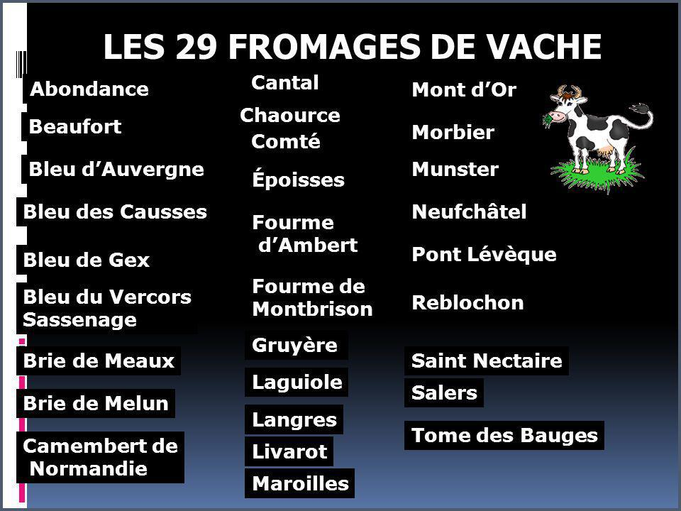 LES 29 FROMAGES DE VACHE Cantal Abondance Mont d'Or Chaource Beaufort