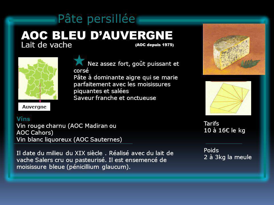 Pâte persillée AOC BLEU D'AUVERGNE Lait de vache