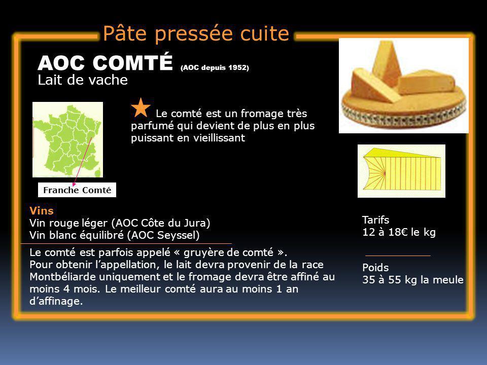 Pâte pressée cuite AOC COMTÉ (AOC depuis 1952) Lait de vache