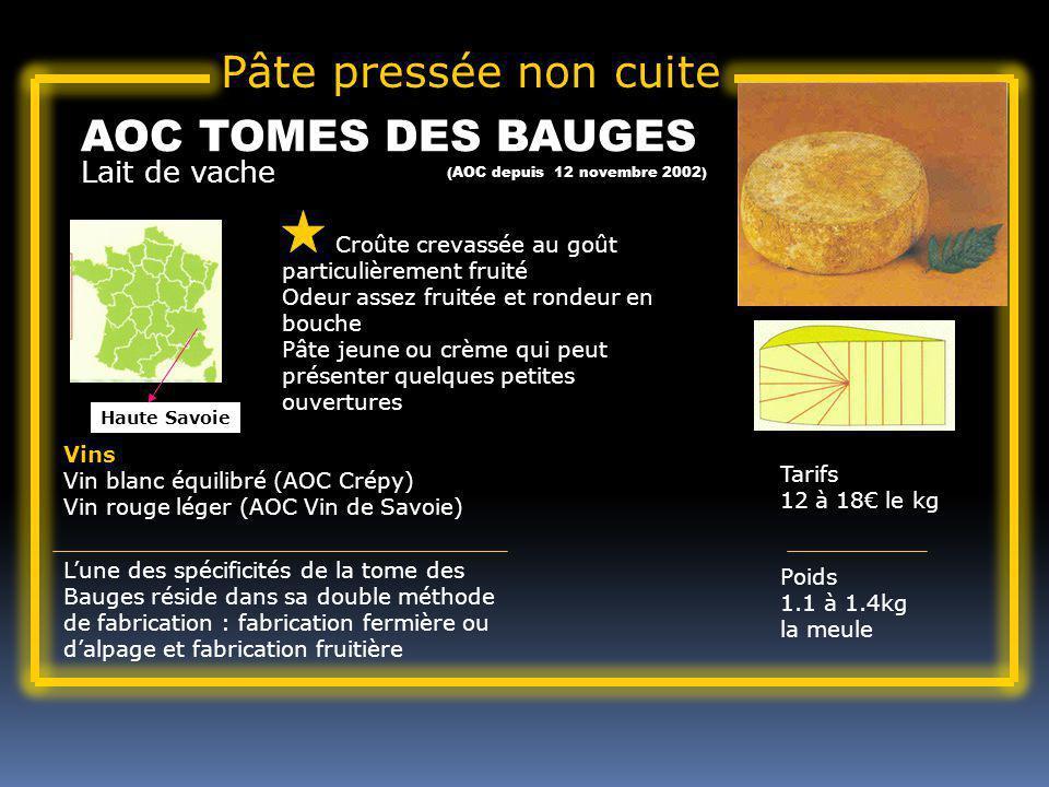 Pâte pressée non cuite AOC TOMES DES BAUGES Lait de vache